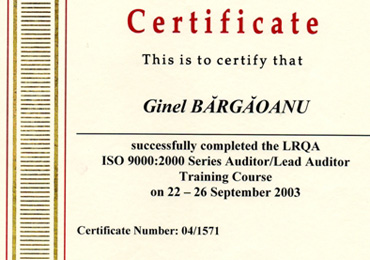 Certificat de Auditor Lloyd's Register Quality Assurance form UK