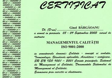 Certificat de absolvire ISO 9001 Quasaro